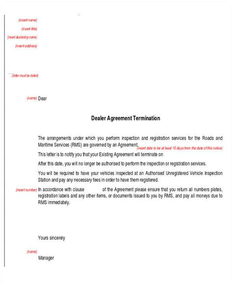 termination letter sales agreement admission essay exle of title page for research paper