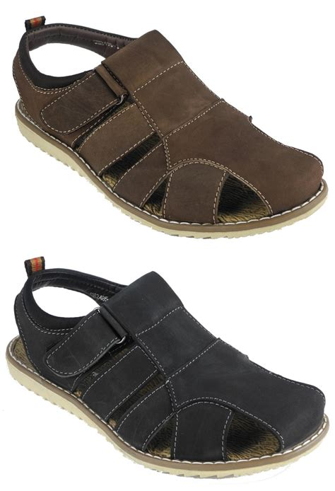 Sandals Around Toe For by Mens Nubuck Leather Closed Toe Velcro Jesus Sandals Brown Size 9 Ebay