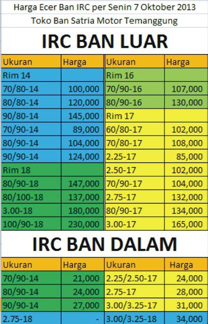 Harga Ban Irc update harga ecer ban irc terbaru toko ban satria motor
