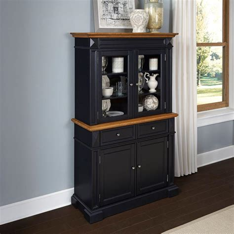 home styles americana black and oak buffet with hutch 5003