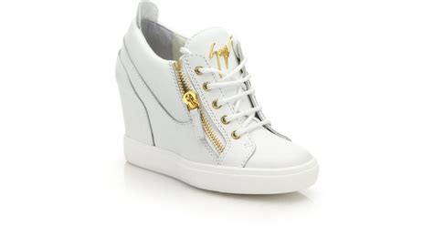 white high top sneakers for giuseppe zanotti leather high top zip wedge sneakers in