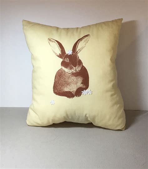bunny home decor bunny cushion screenprinted cotton rabbit organic