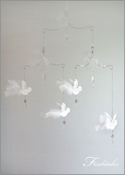 classic white bird mobile baby mobile nursery mobile