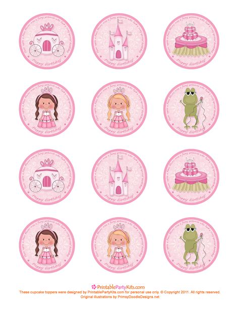 cupcake topper template free printable princess birthday cupcake toppers