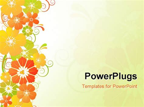 powerpoint flower templates vector floral background with yellow and green flowers