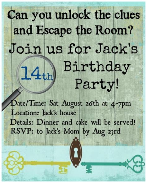 How To Throw An Escape Room Birthday Party At Home Momof6 Free Escape Room Invitation Template