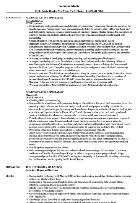 Administrative Resume by Administrative Specialist Resume Sles Velvet