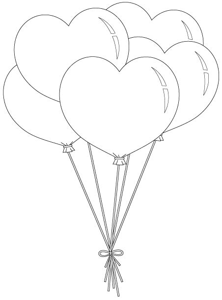 heart person coloring page heart balloon bunch unbelievable number of free digis