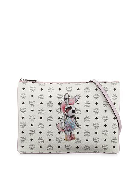 Mcm Medium Rabbit Crossbody Bag mcm rabbit pouch medium crossbody bag white