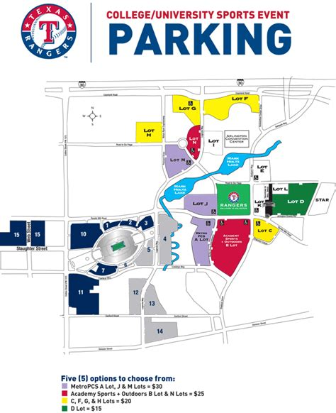 texas rangers ballpark parking map parking policies during college events held at cowboys stadium texas rangers