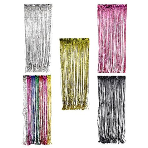 fringe curtains for party adorox tinsel metallic silver gold pink foil fringe