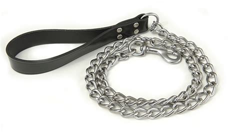 chain leash chain leash with black leather handle
