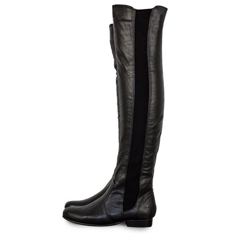 the knee black leather boots black pu leather the knee boots from parisia