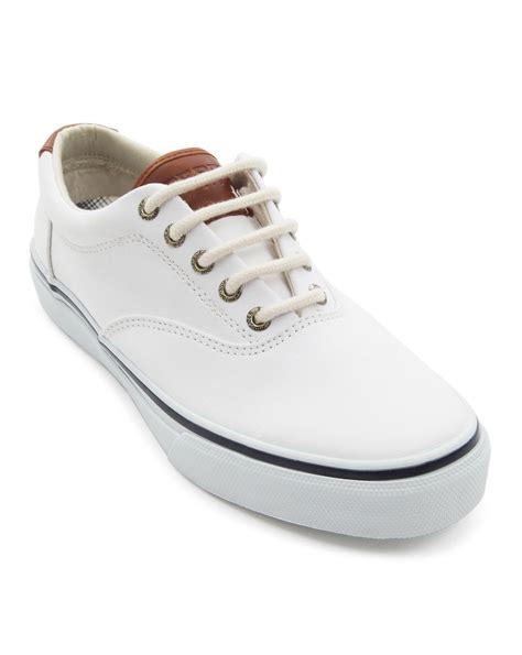 best white sneakers mens sperry top sider striper leather and canvas white sneakers