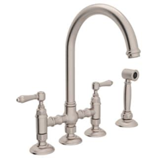 rohl country kitchen bridge faucet rohl a1461lmwsstn 2 satin nickel country kitchen bridge faucet with side spray and metal lever