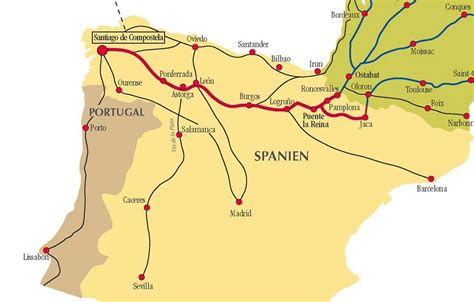 el camino pilgrimage map el camino de santiago de compostela pilgrimage in spain