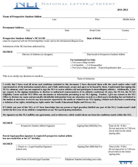 national letter of intent national letter of intent template business 1509