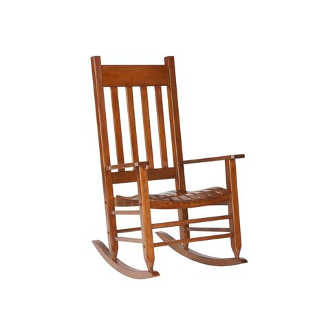Patio Rocking Chairs Wood Shop Garden Treasures Wood Slat Seat Outdoor Rocking Chair At Lowes