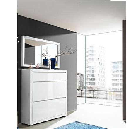 Bathroom Mirror Wall Cabinets - fino shoe cabinet in white gloss with mirror 20659