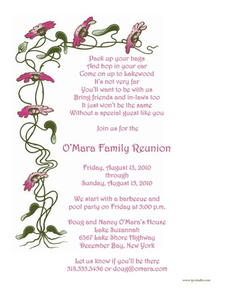 family reunion letter template family reunion template frt 08