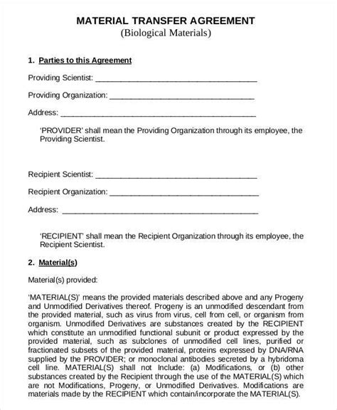 material transfer agreement template 6 transfer agreements exles in word and pdf