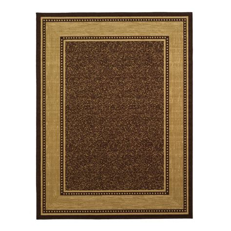 brown rug ottomanson contemporary bordered design brown 8 ft 2 in x 9 ft 10 in non skid area rug