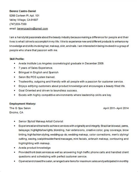 resume salon stylist