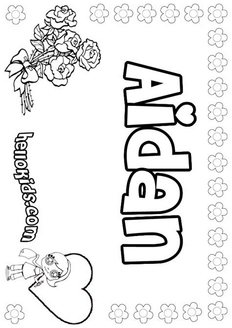 girls name coloring pages aidan girly name to color