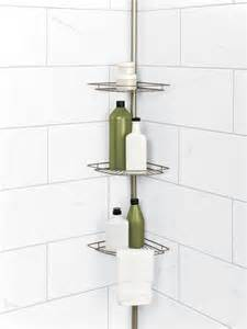tension pole corner shower caddy in satin nickel