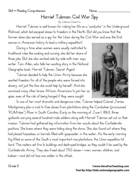 harriet tubman biography and questions reading comprehension worksheet harriet tubman civil
