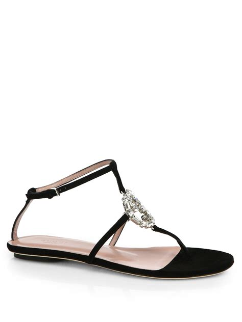 gucci sandals lyst gucci gg leather and suede sandals in black