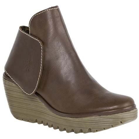 fly yogi brown leather womens new ankle wedge shoes