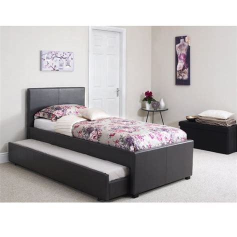 Carson single bed in black faux leather with pull out guest
