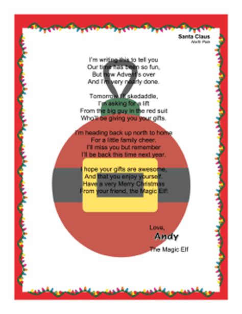 printable letters from santa about elf on the shelf goodbye letter magic elf