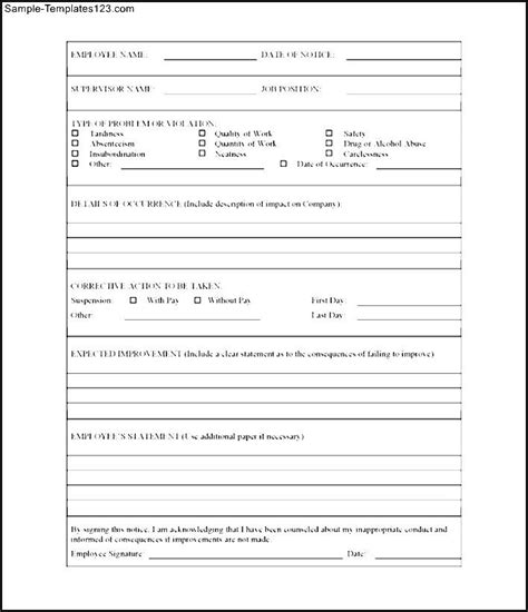 free printable employee write up form sle templates