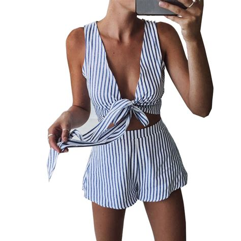 Set Sleeveless Playsuit Camisole casual white camis crop top and shorts set playsuit