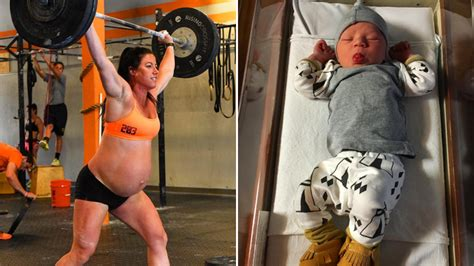 pin baby coming out 9 months pregnant mom watch belly move crossfit competitor who worked out at 9 months pregnant
