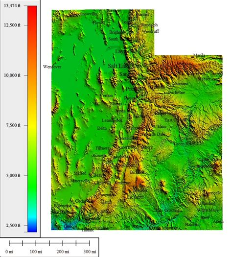 topographical map of utah topocreator create and print your own color shaded