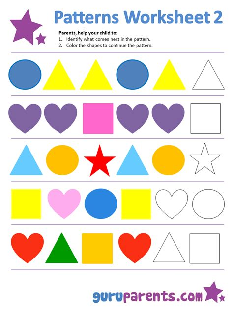pattern making with different shapes patterns worksheet worksheets