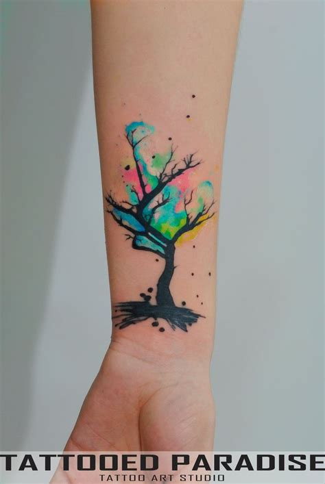 small colorful flower tattoos watercolor tree cover up by dopeindulgence deviantart