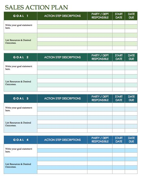 Free Sales Plan Templates Smartsheet Sales Goals Template