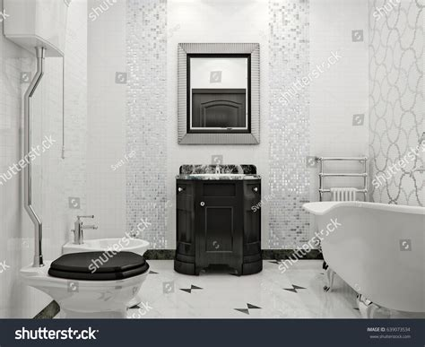 luxurious bathroom with marble rukle 3d render interior luxurious bathroom classic style interior design stock