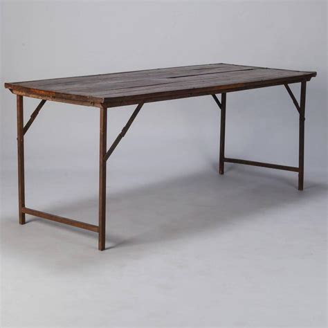 large folding table large industrial wood and iron folding table at 1stdibs