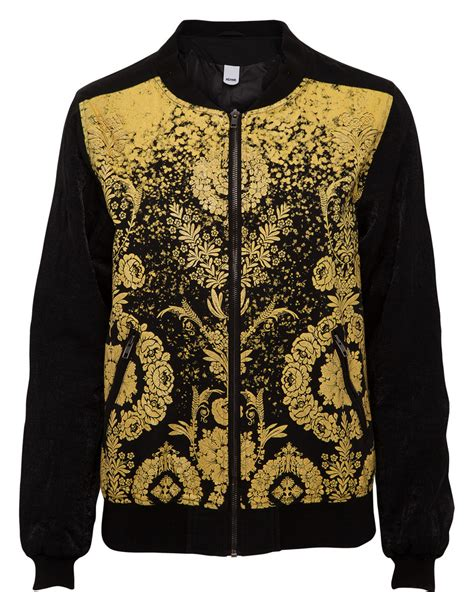Gold Patterned Bomber Jacket | bomber jacket with gold pattern body daloo3a women s
