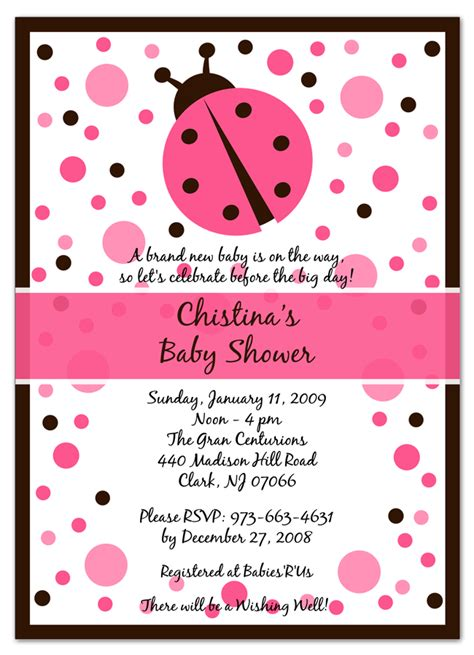 ladybug baby shower invitations babyshower4u