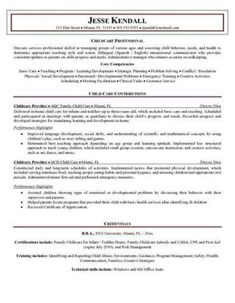 description of childcare resume
