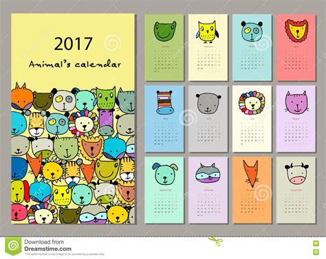 doodle crear calendario animaux dr 244 les conception du calendrier 2017 illustration