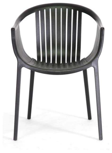 Baxton Studio Grafton Black Plastic Stackable Modern Modern Stackable Dining Chairs
