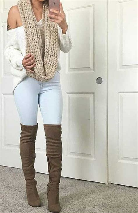 infinity boot c infinity scarf high knee boots simple casual fall
