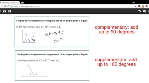 supplement or complement finding the complement or supplement of an angle